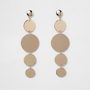 Gold tone disk dangle earrings