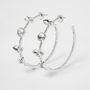 Silver tone rhinestone jewel hoop earrings