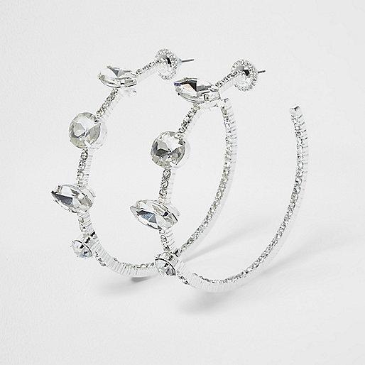 Silver tone rhinestone jewel hoop earrings