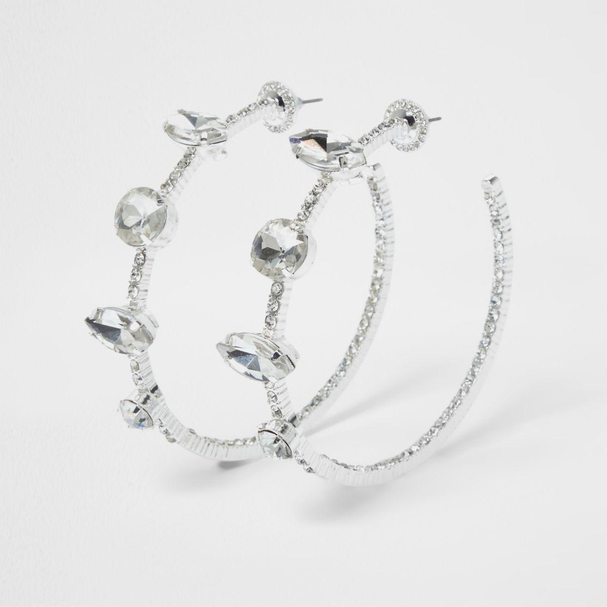 Silver tone diamante jewel hoop earrings