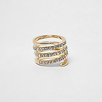 Gold tone pave circle swirl diamante ring