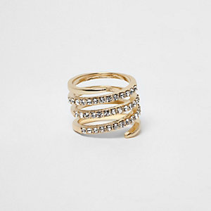 Gold tone pave circle swirl rhinestone ring