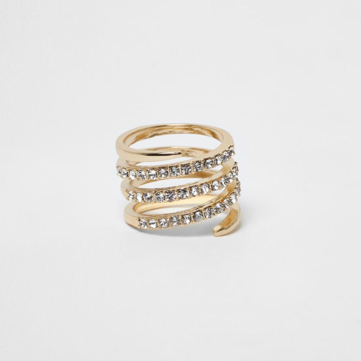 Gold tone pave circle swirl rhinestone ring