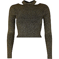 Black and gold lurex stitch fitted crop top