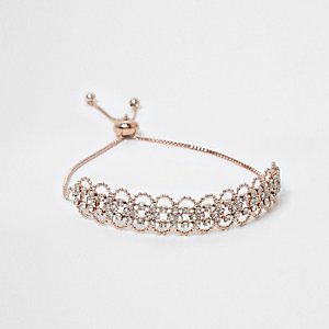 Rose gold tone scallop rhinestone bracelet