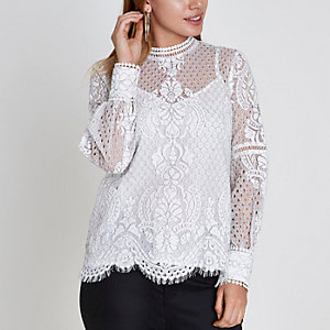 Petite white lace long sleeve top