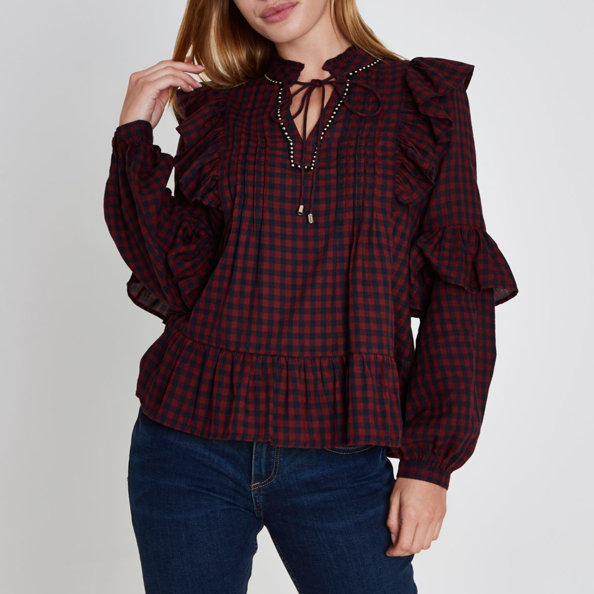 Petite red check tie neck frill blouse