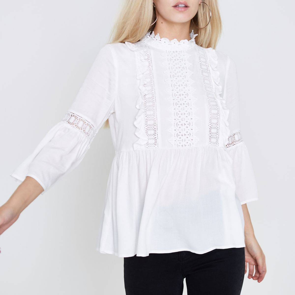 Petite cream lace frill bell sleeve blouse