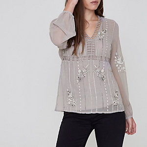 Petite grey floral embroidered blouse