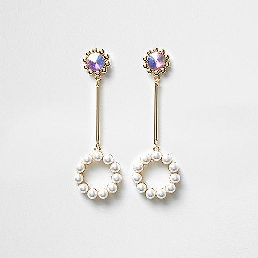 Gold tone pearl circle drop earrings