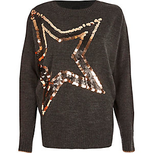 Dark grey metallic sequin star sweater
