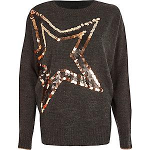 Donkergrijze metallic pullover met ster van lovertjes