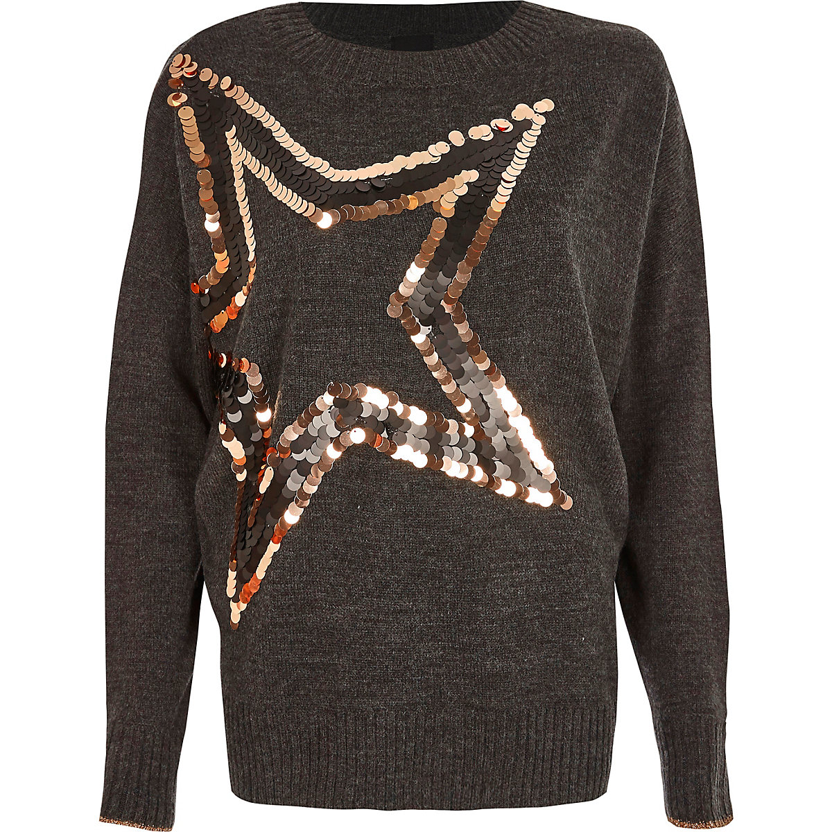 Dark grey metallic sequin star jumper