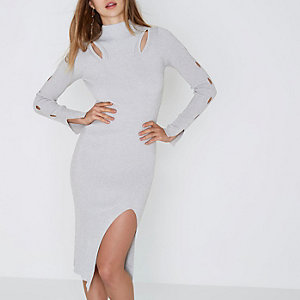 Silver metallic cut out knitted bodycon dress