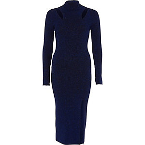 Navy metallic cut out knitted bodycon dress