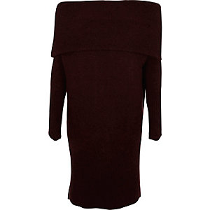Dark purple foldover bardot sweater dress