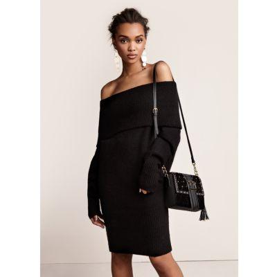 River Island Zwarte trui-jurk met bardothalslijn