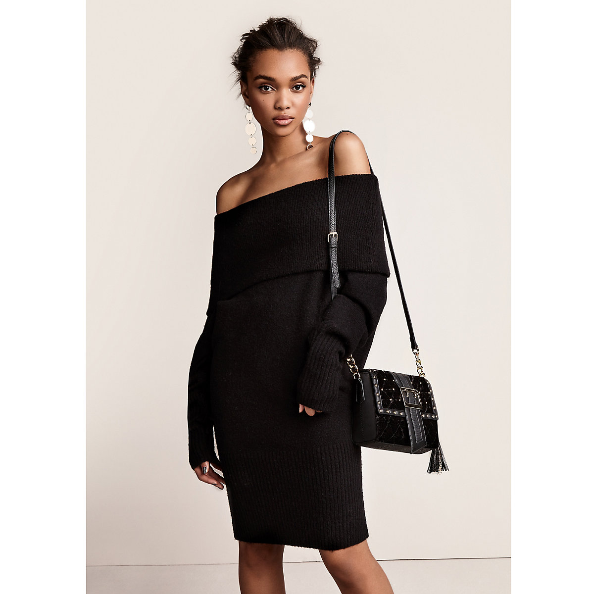 Black foldover bardot jumper dress