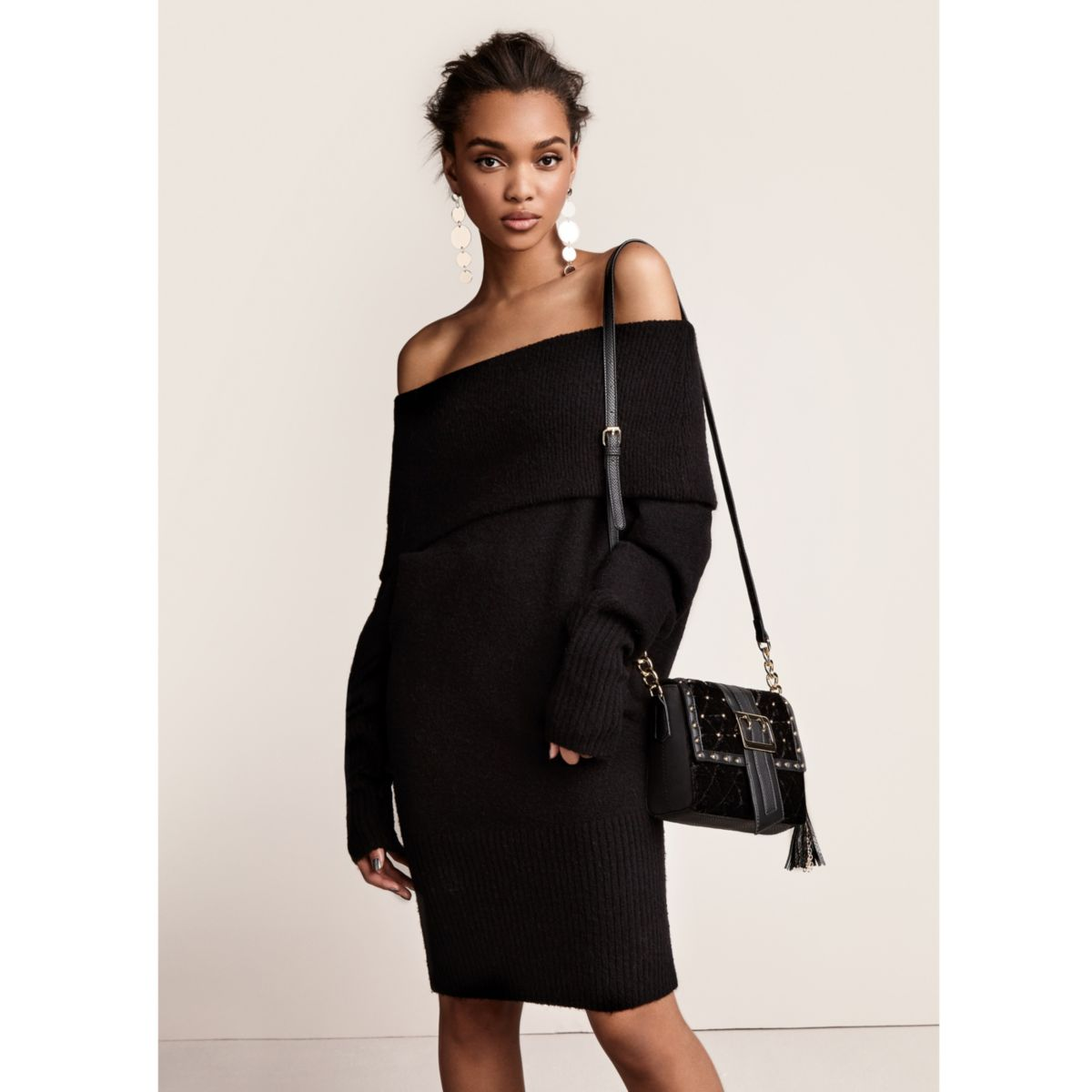 Black foldover bardot sweater dress