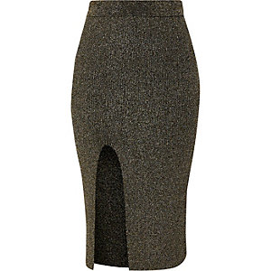 Black and gold lurex stitch fitted midi skirt