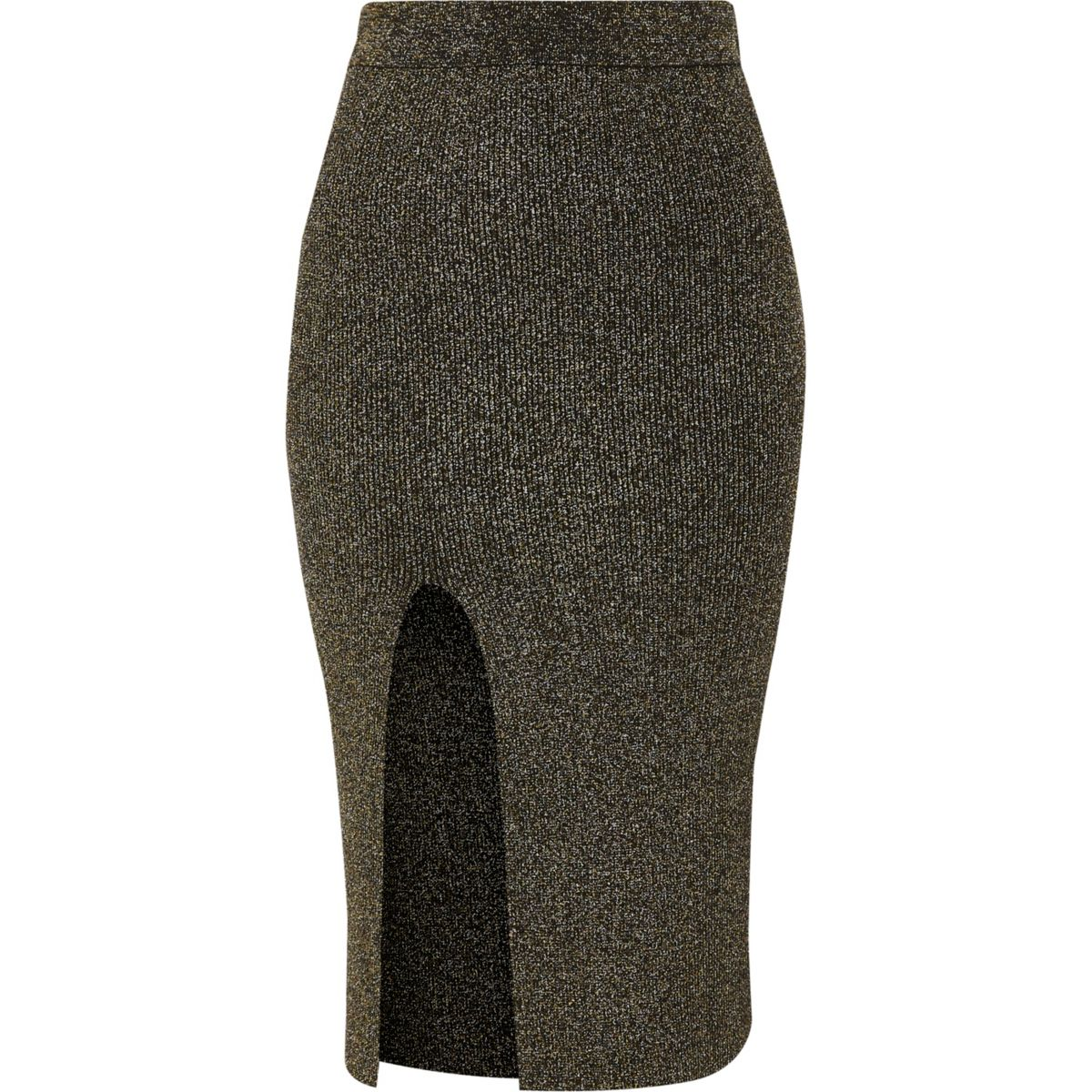 Jupe mi-longue ajustée en lurex surpiqué noir et or