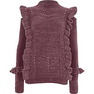 Lila Chenille-Pullover mit Rollkragen und Rüschen