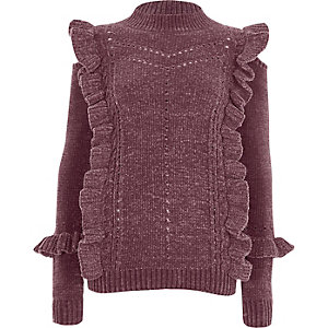 Paarse chenille pullover met col en ruches