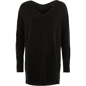Black side zip longline sweater