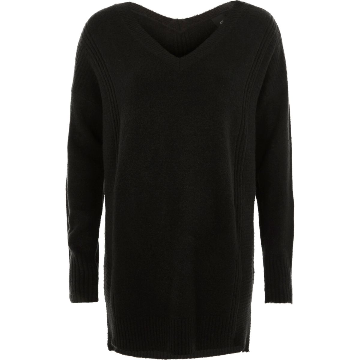 Black side zip longline jumper