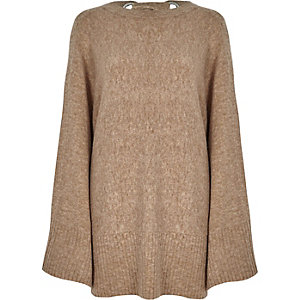 Light brown wide sleeve tie back jumper