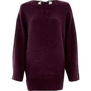Paarse pullover met strik op de rug en wijde mouwen