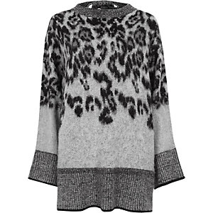 Grey animal print tie back wide sleeve sweater