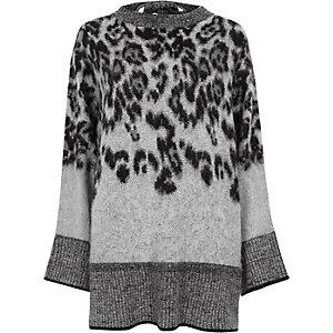 Grijze pullover met wijde mouwen, dierenprint en strik op de rug