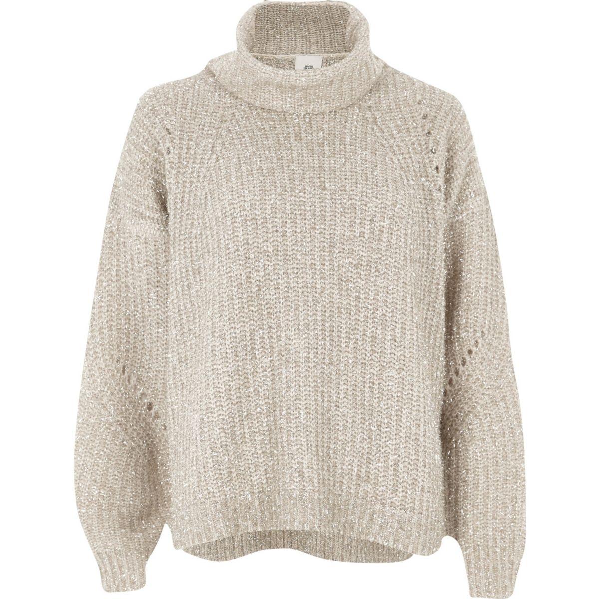 Gold lurex stitch roll neck knit sweater
