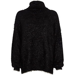 Black lurex stitch roll neck jumper