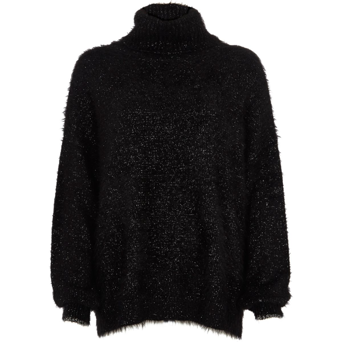 Black lurex stitch roll neck sweater
