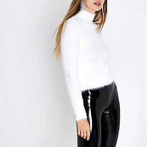 White fluffy knit high neck sweater