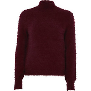 Burgundy fluffy knit high neck jumper