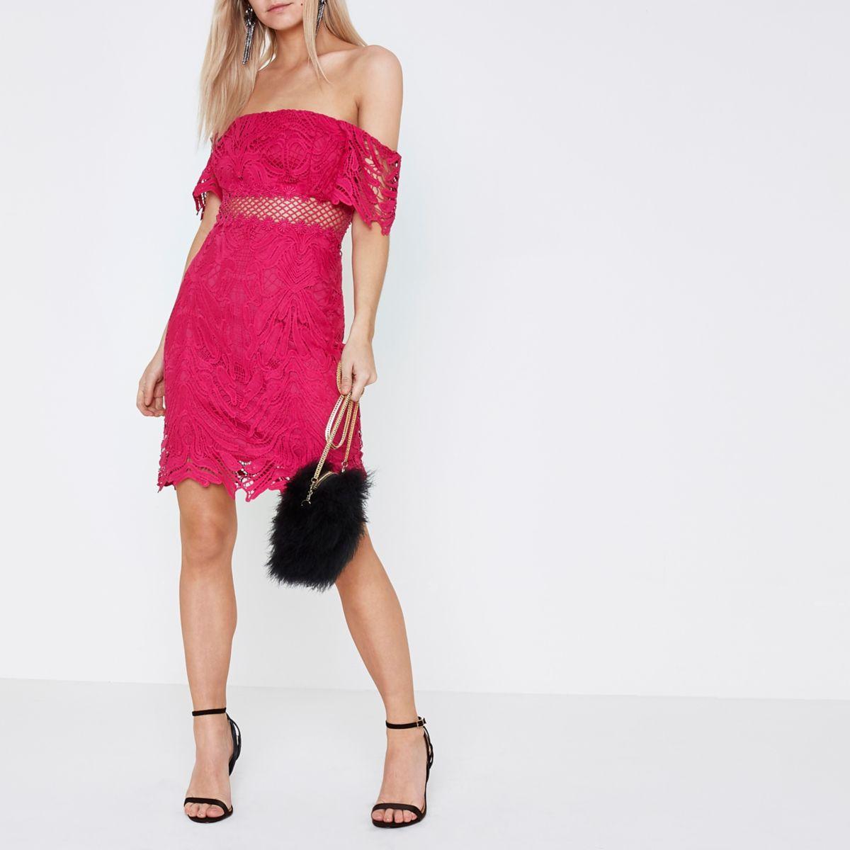 Petite pink lace bardot dress