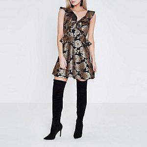 Petite black and gold jacquard skater dress