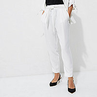 Petite white tapered trousers
