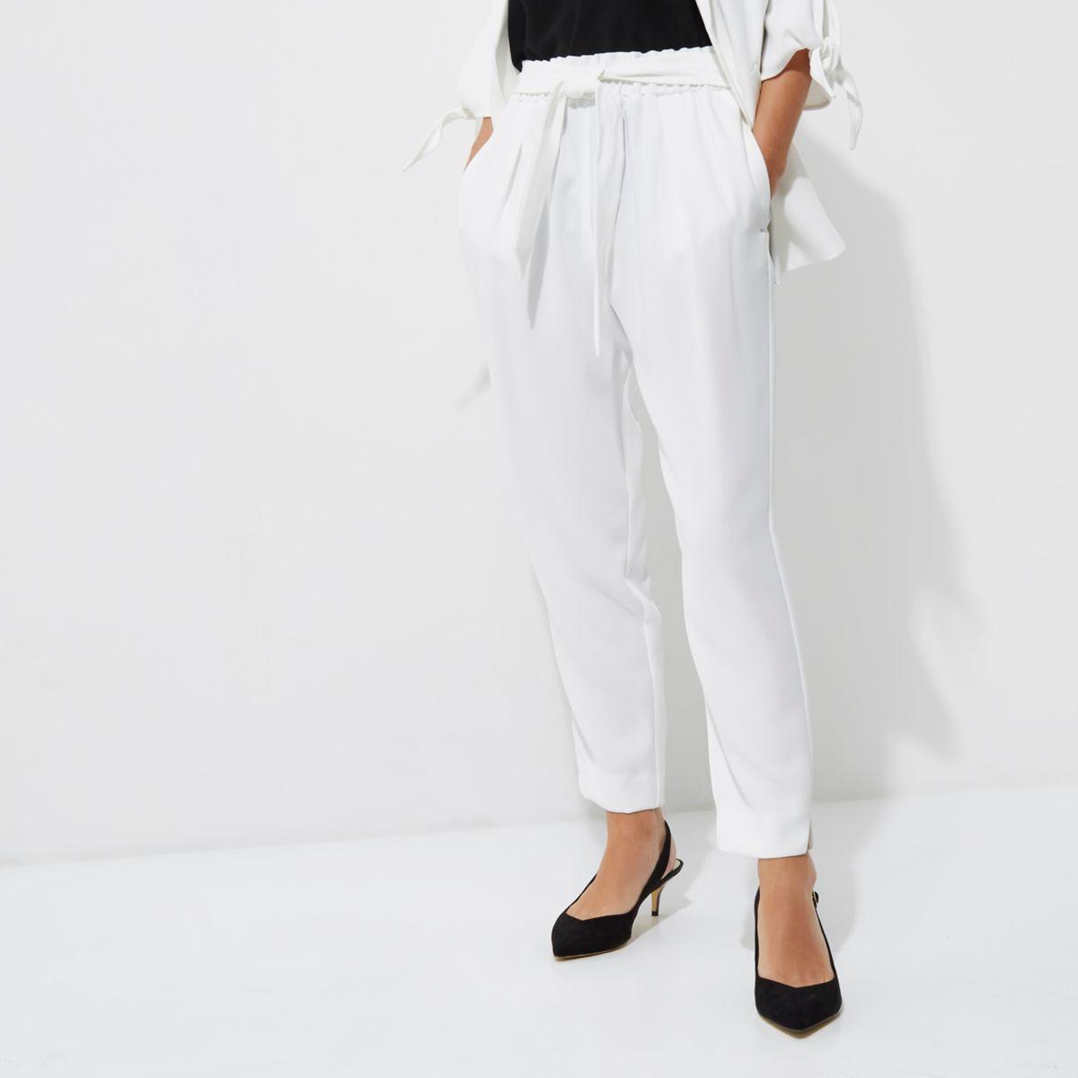 Petite white tapered pants