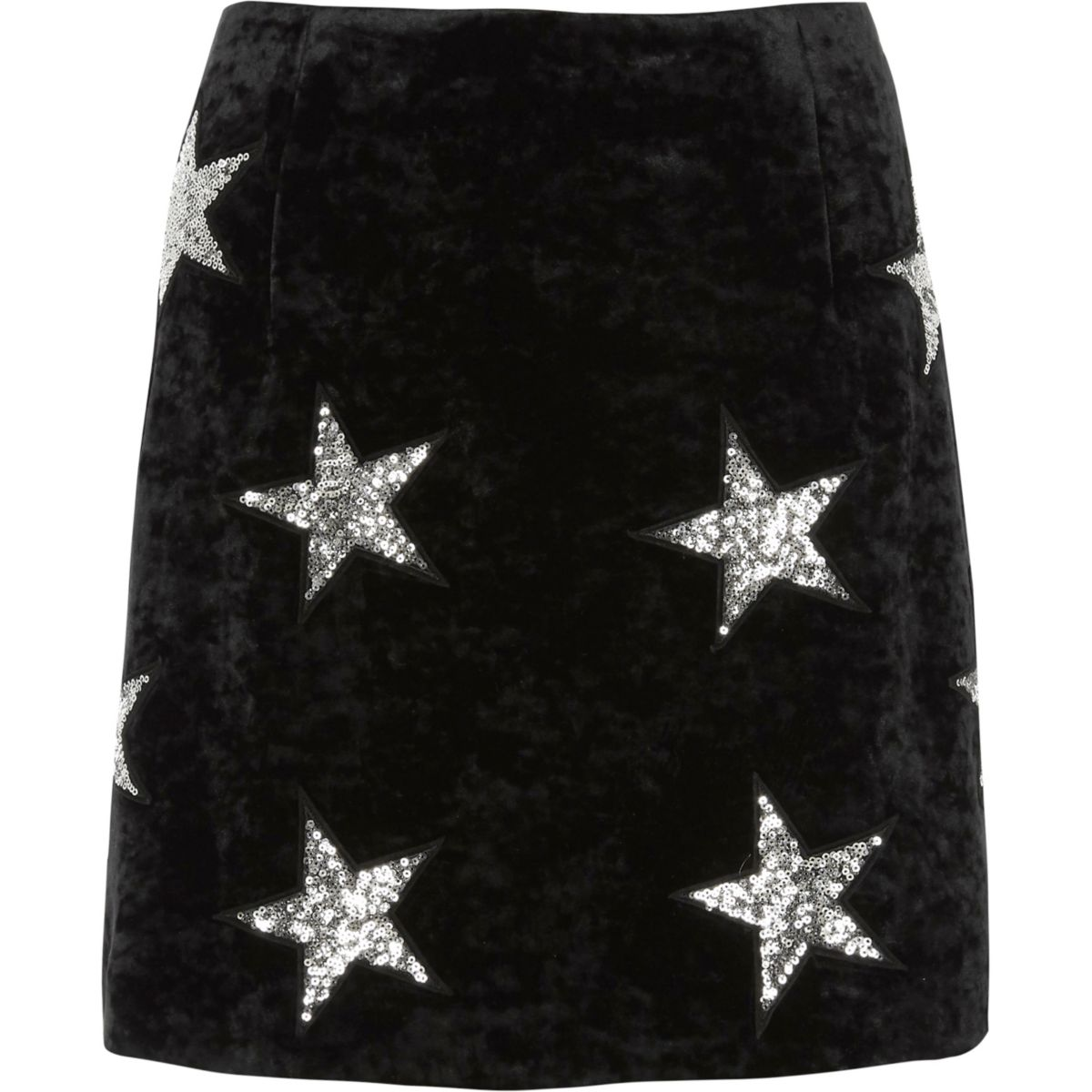 Black velvet sequin star mini skirt