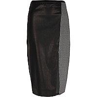 Jupe crayon en cuir synthétique noir à carreaux gris