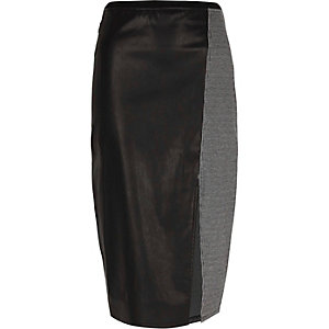 Black faux leather grey check pencil skirt