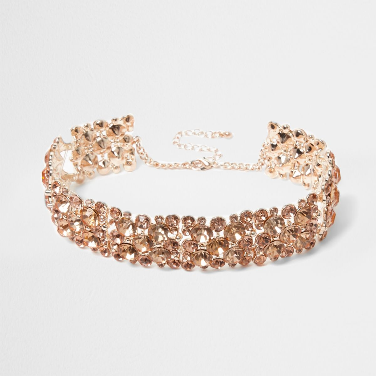 Rose gold tone rhinestone chain choker