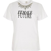 White 'female future' print necklace T-shirt