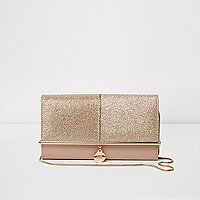 Gold glitter bar front foldover clutch bag