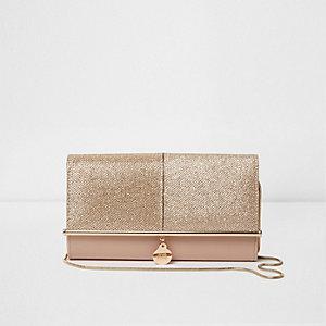 Gold glitter bar front foldover clutch bag