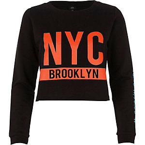 Black 'NYC Brooklyn' crew neck sweatshirt